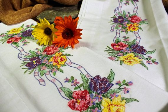 Embroidered Pillowcases, Hand Embroidered, Cross Stitch, Embroidery, Colorful, Flowers of Dreams