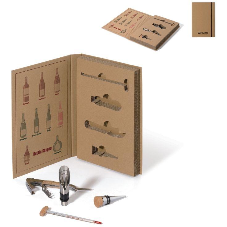Set de vino presentado en estuche de regalo ecológico con un panfleto informativo sobre los tipos de vino, una idea para merchandising promocional.