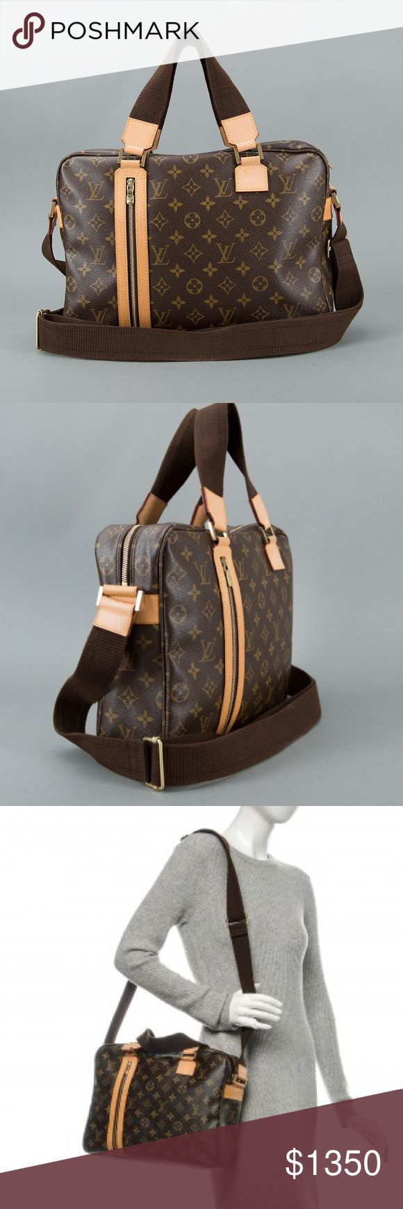 """Louis Vuitton Monogram Sac Bosphore Messenger Bag Gently Used-- Gently Oxodized Material: Monogram coated canvas with natural cowhide vachetta leather Origin: Spain Production Year: 2007 Date/Authenticity Code: CA1057 Measurements: 14"""" L x 3.5"""" W x 10"""" H Exterior Pockets: One zip pocket Interior Pockets: One flat pocket, one cell phone pocket Handles: Double flat canvas handles and long adjustable shoulder strap Handle Drop: 6"""" and 23"""" adjustable Closure/Opening: Double zip closure Interior…"""
