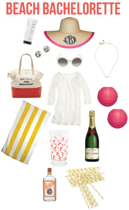 Bachelorette party on the beach! Sunny colors, Kate Spade bag, and champagne. Fabulous.