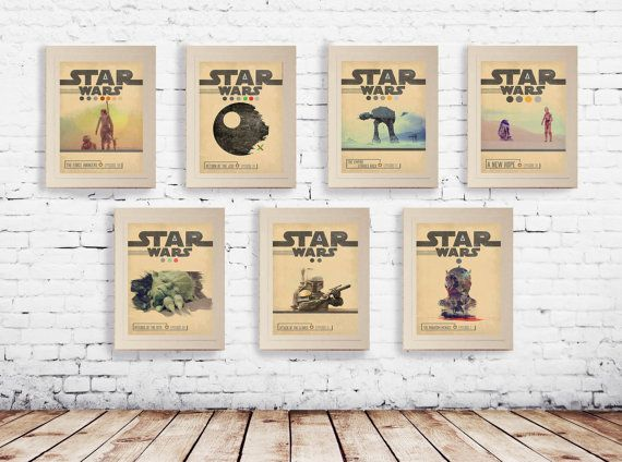 STAR WARS Set of 7 Episode 1 2 3 4 5 6 7 Movie Posters by POTAPOTA