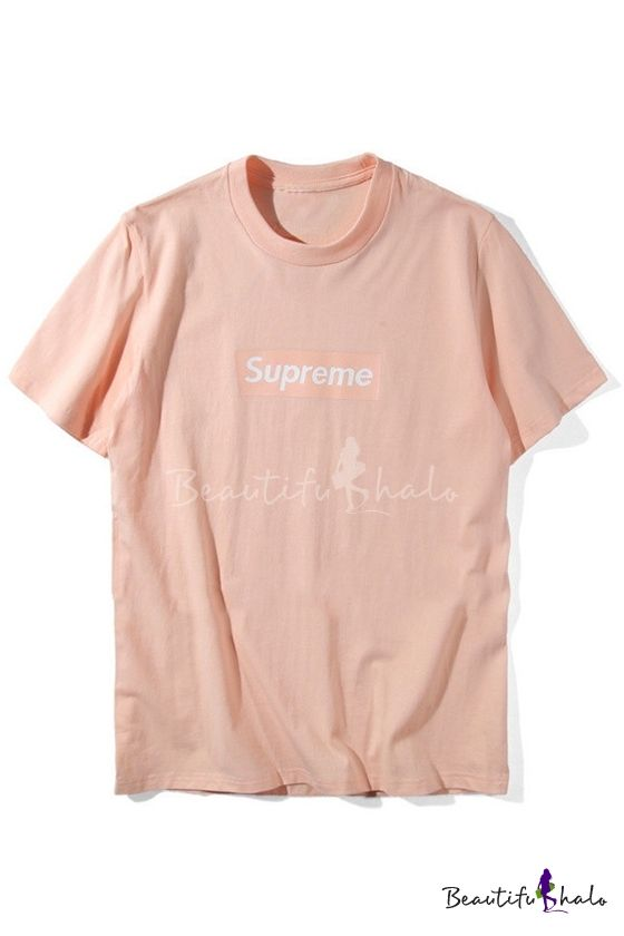 Unisex Simple Supreme Letter Printed Short Sleeve Round Neck Casual Tee.  Cool Tees ...