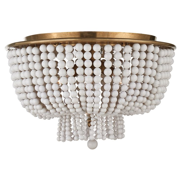 jacqueline flush mount by aerin in handrubbed antique brass with white acrylic