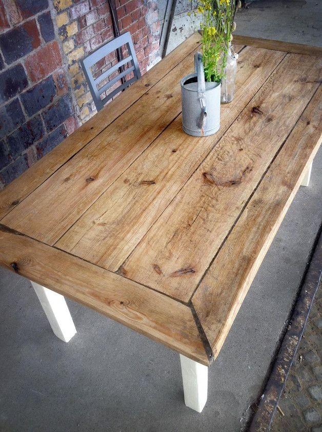 Esstisch im Landhaus-Stil aus Bauholz / big wooden dining table, country style by FraaiBerlin via DaWanda.com