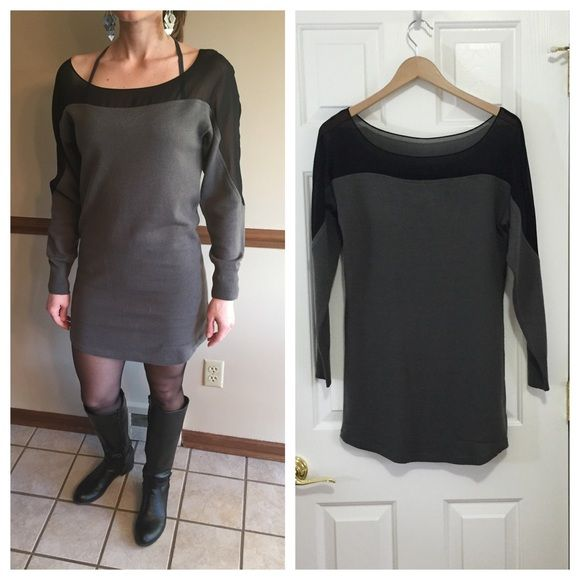 """Sheer top sweater dress Grey sweater dress with black sheer top. This dress came from a boutique in Arizona - tag says Nom de Plume, size M. Fits like a 6, although it is short (hits mid-thigh on me and I am 5'3""""). Good cool-weather going out dress. There is one major flaw - a snag on bottom front of dress, pictured. It is over the right leg, not terribly noticeable when worn. I wore to a wedding as-is in January and got compliments, but price reflects. Wear with strappy bra and statement…"""