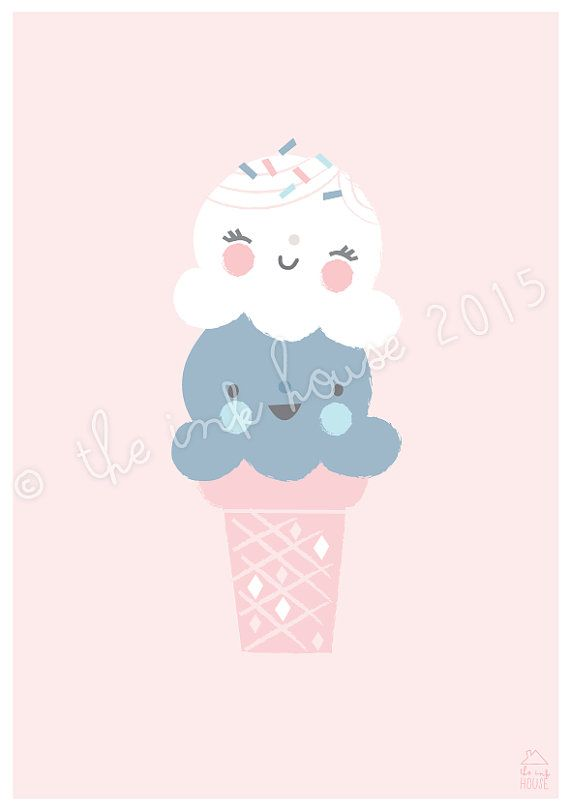 A4 ICE CREAM PRINT, ice-cream Illustration, art print, poster, kids room, wall art, nursery wall art, girls room print