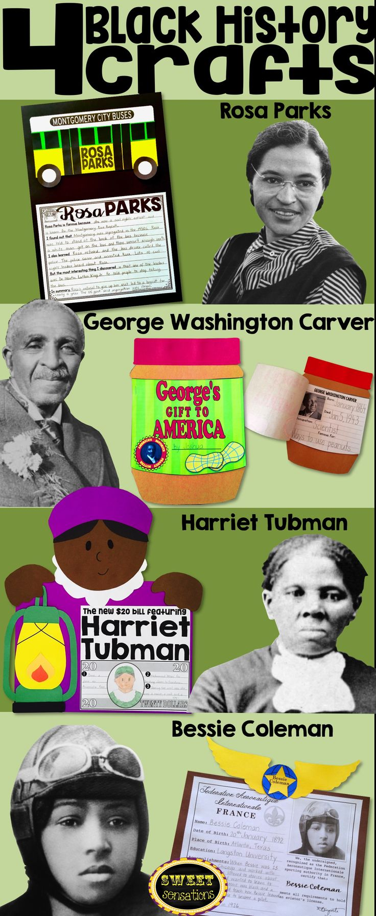 Black History month crafts and activities for K-5 students to study black history icons: George Washington Carver, Bessie Coleman, Harriet Tubman and Rosa Parks