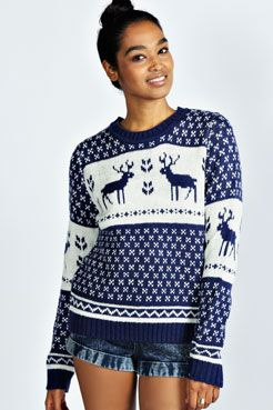 Simone Snowflake and Reindeer Knitted Jumper at boohoo.com