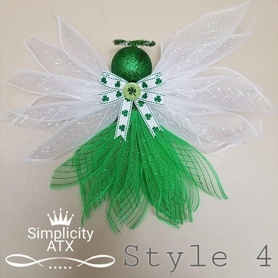 This cute Saint Patricks Day Deco Mesh Angel is an elegant door decoration it is light weight and easy to hang. Angel measures approximately 15 inches wide and 10 inches tall. Choose from these 5 styles and colors of Patricks Day Deco Mesh Angel This Angel is ship in a 14 x 11 x 3.5