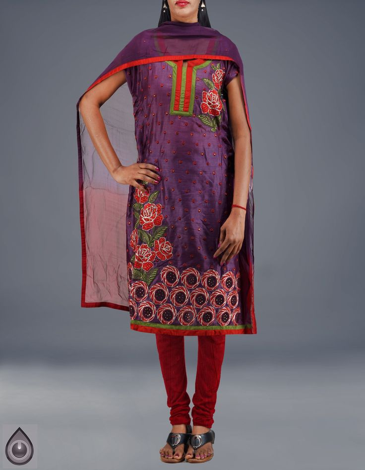 Semi-stitched plum violet and red color pure tussar silk Punjabi suit,It has red plain silk salwar and dual color chiffon patch border chunni,This product is hand crafted and there might be slight irregularities, Attractively priced,fast dispatch and free shipping.