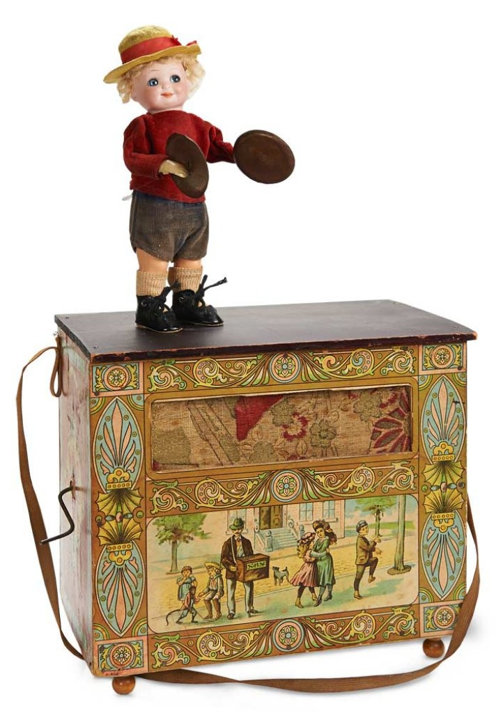 German Toy Music Box Organ Grinder with Lithographed Decorations 700/900