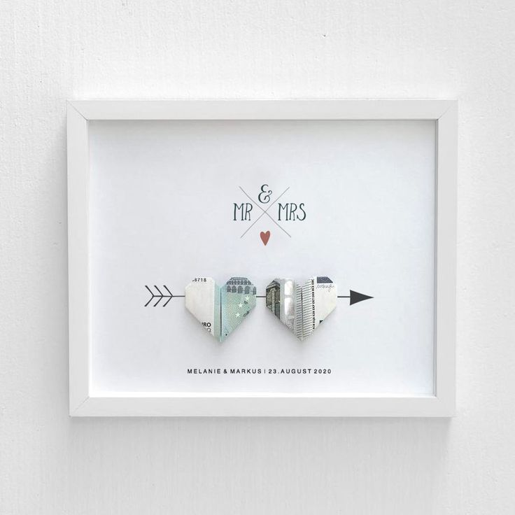 Wedding money gift: Picture with bank note hearts – #image #boheme #giving gift #delivery card #wedding