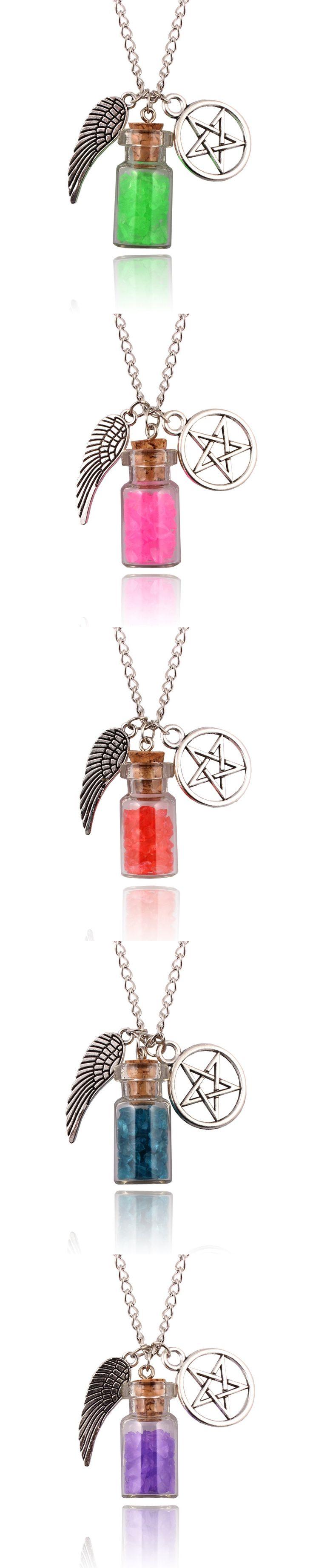 New Super Natural Power Glass Wishing Salt Bottle Angel Wings Five Wings Star Retro European American Amulet Pendant Necklace