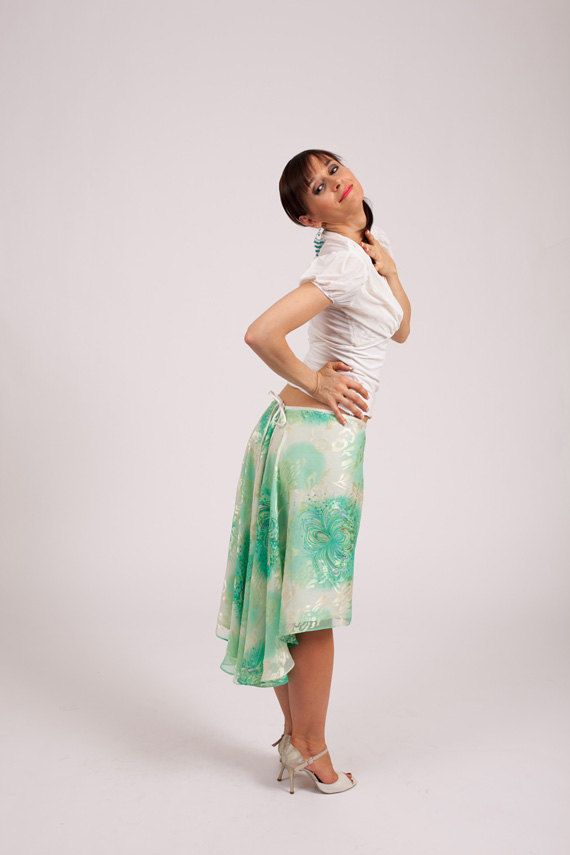 A double layered tango skirt with rounded back tail by TheGiftofDance