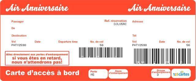 Invitation Anniversaire Billet D Avion 123 Cartes