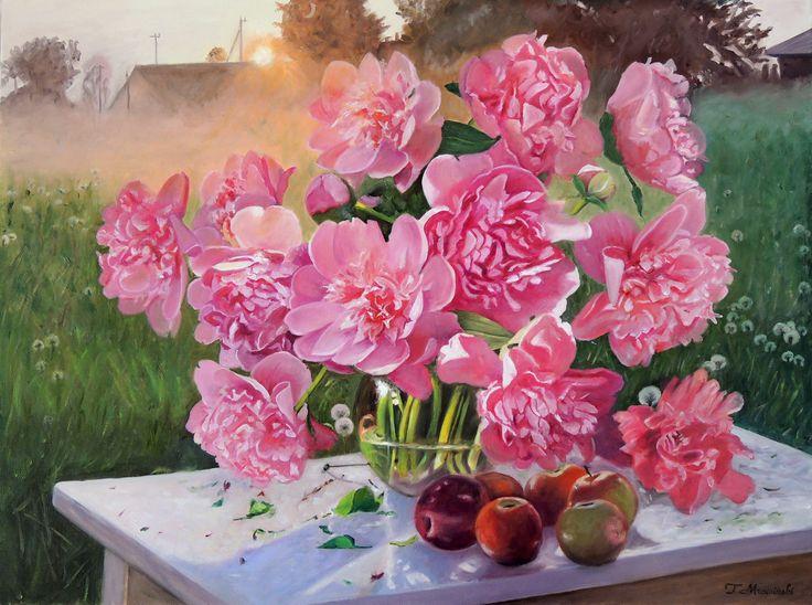 Obrazy olejne kwiaty peonie. Kwiaty w pejzażu. Flowers peonies of sunset. Malarstwo Tomasz Mrowiński