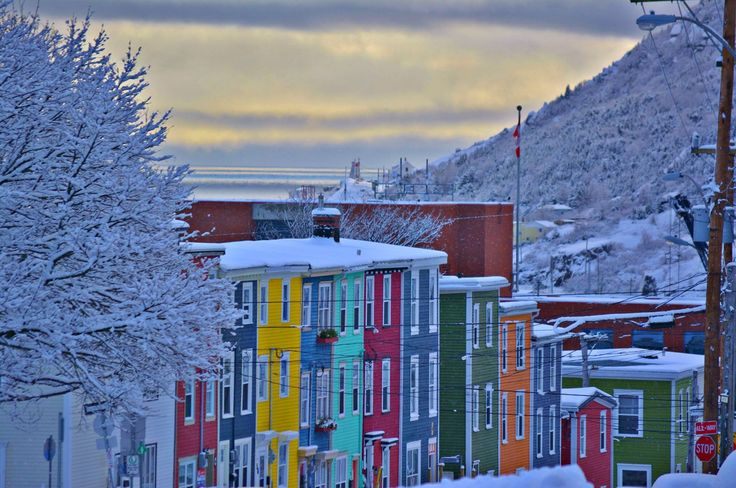 The colours of St. John's pop in a fresh blanket of New Year's snow! Have you ever visited the Atlantic Coast? (Photo: Adam Pearce; @NewfoundlandLabradorTourism)