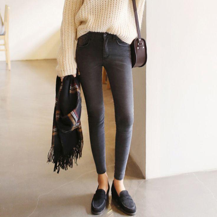 2016 thin waist jeans nine Korean female grey legging feet pencil pants 9 black women jeans