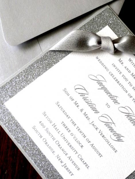 sparkly silver wedding invites with bling