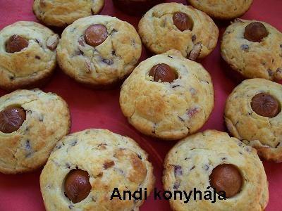 Virslis-hagymás-sajtos muffin - Andi konyhája - Sütemény és ételreceptek képekkel