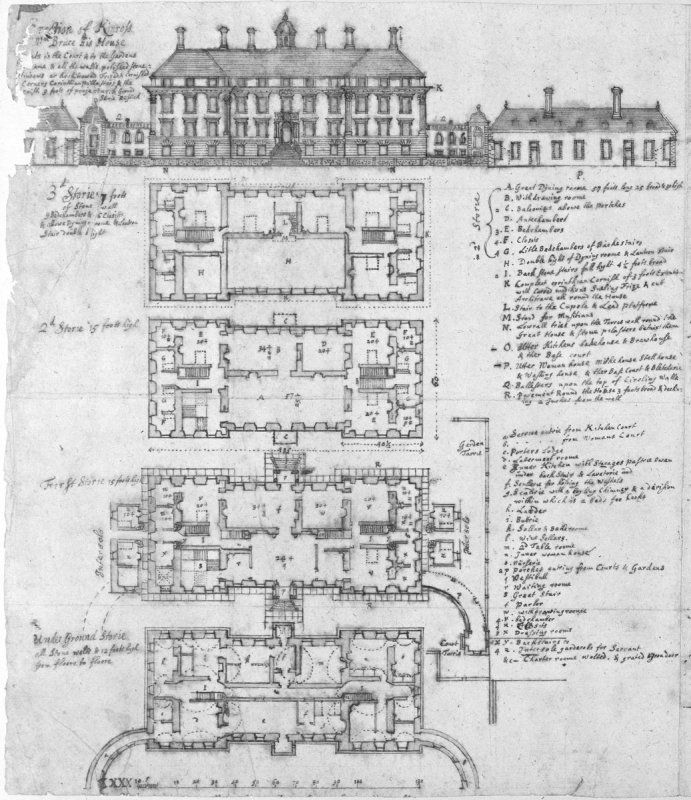 Original plans for Kinross House. Kinross House is a late 17th-century country house overlooking Loch Leven, near Kinross in Perth and Kinross, Scotland. Construction of the house was begun in 1686, by the architect Sir William Bruce as his own home.