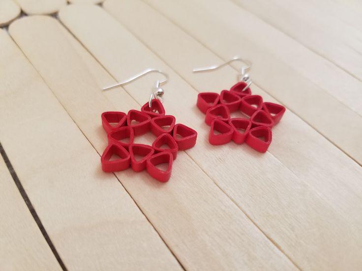 Red star earrings/ Quilling earrings/ Red quilling earrings/ Paper earrings…