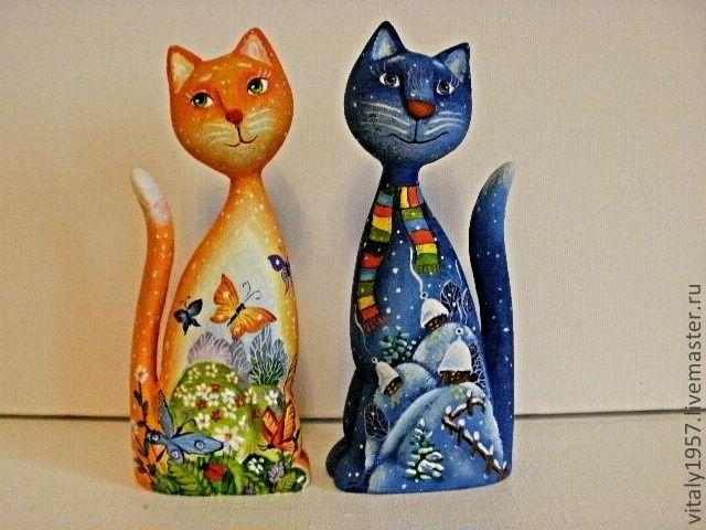 Кошка и кот Скульптура дерево  ручная роспись. Автор Виталий Корякин.