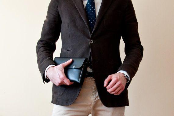 Men's Business Clutch Handbag in Black Coal, Organizer Handbag, Briefcase Wallet, Passport Wallet, Men Handbag, Leather Clutch, Wrist Bag