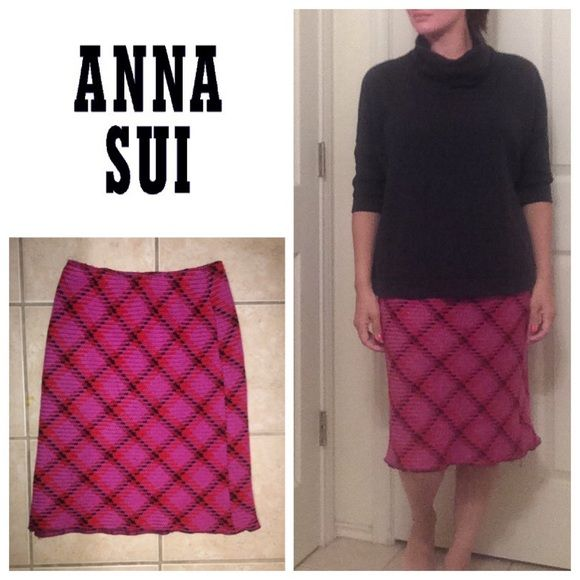 """Anna Sui woven argyle skirt Elastic waistband so will fit a size 4-8 best. Measures 14.5"""" across unstretched and will stretch to 16"""". Will bundle for 10% off on all bundles of two or more items Anna Sui Skirts"""
