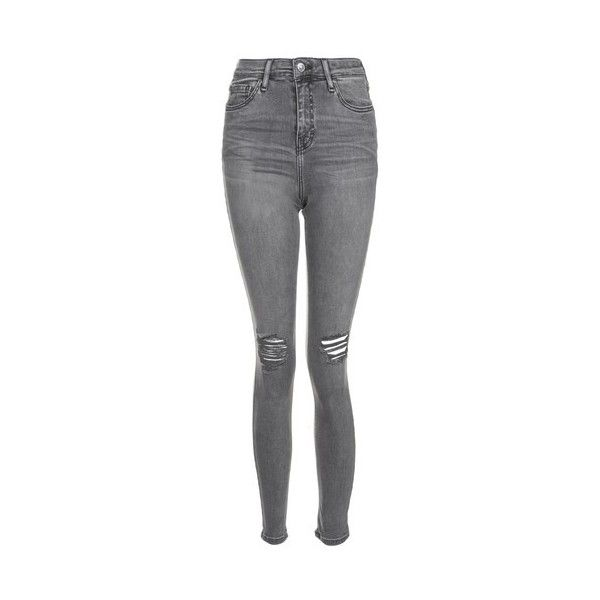 Topshop Moto Grey Ripped Jamie Jeans ($51) ❤ liked on Polyvore featuring jeans, grey, high-waisted skinny jeans, grey skinny jeans, destroyed skinny jeans, high-waisted jeans and high rise skinny jeans