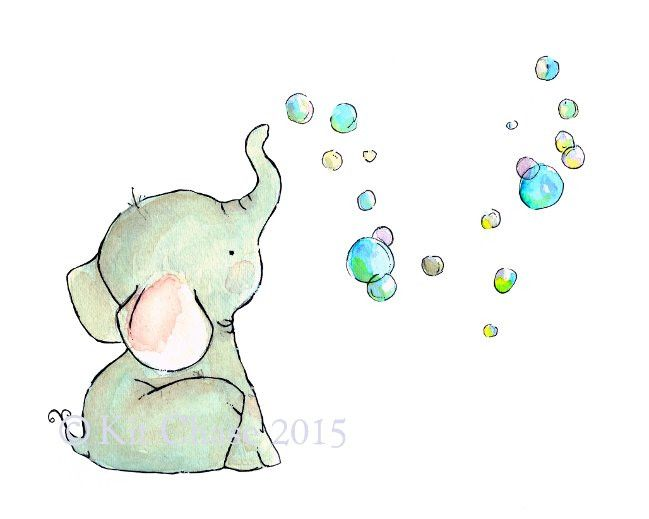"""A baby elephant and its bubbles...a delightfully whimsical piece, designed to be matched with its counterpart """"Bunny Bubbles"""". - art print from an original watercolor, gouache, and acrylic painting by"""