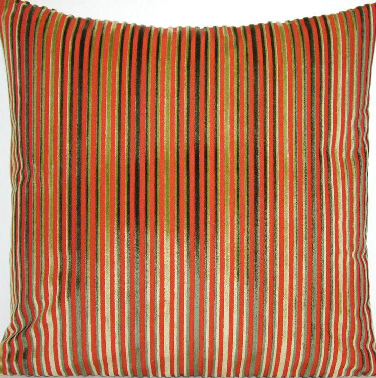 Cushion Pillow Cover Osborne and Little Fabric Velvet Stripes Green Red Orange