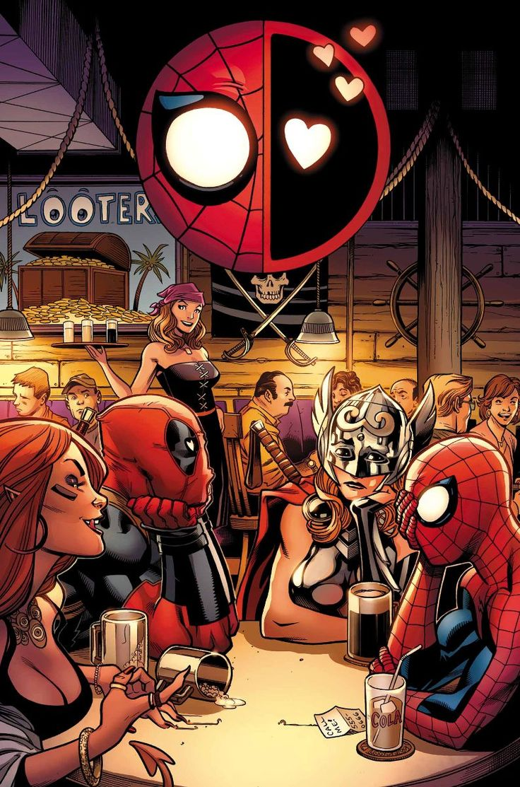Spider-Man/Deadpool #4, April 2016,  features the pair going on a double date with Deadpool taking out the Goddess of Thunder and Spider-Man hooking up with a friend of Shiklah, Deadpool's wife.