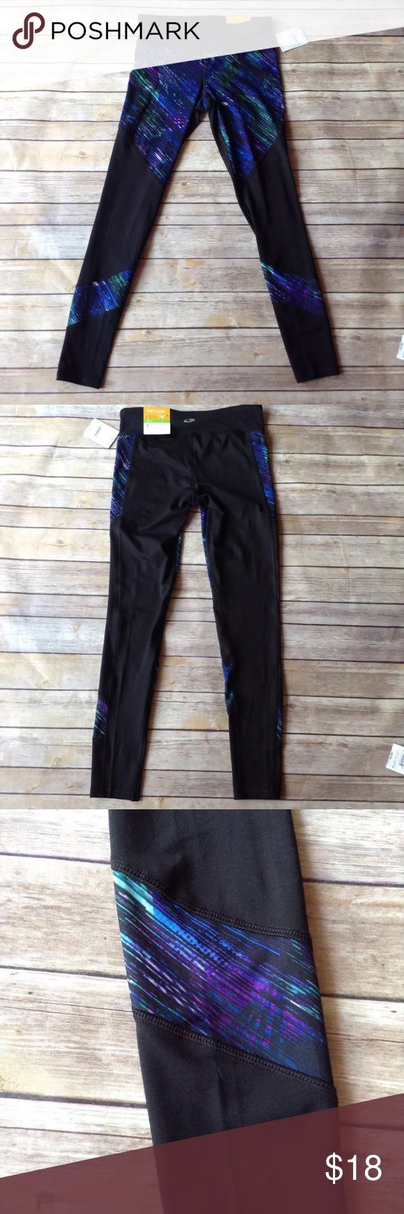"""C9 by Champion small DUODRY workout yoga leggings. New with tags C9 by Champion women's size small DUODRY black with green blue and purple accents workout yoga leggings. Excellent condition. No rips holes or stains. 88% polyester 12% spandex. Retail $27.99  Measurements: Length- 34"""" Waist- 26""""- 30"""" Inseam- 28""""  I ship fast! Pay before 4:30pm Monday thru Friday and I will ship the same day! Thank you for looking! Check out my other items! C9 Pants Leggings"""