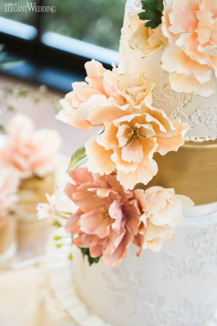 Peach Sugar Flowers, Summer Garden Wedding Cake Inspiration