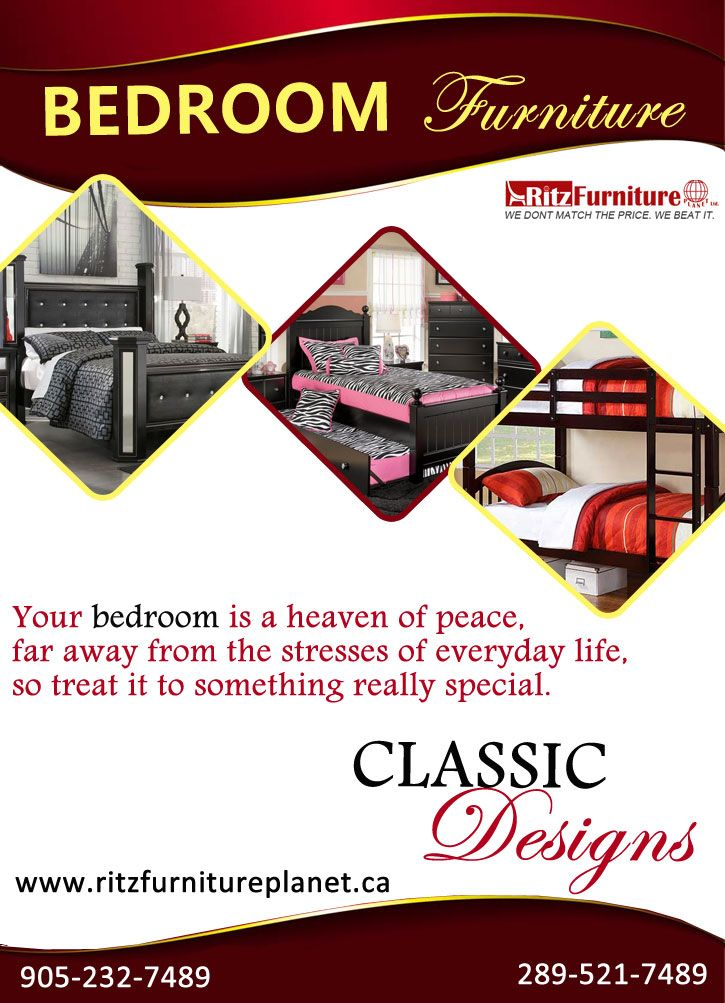 Design your bedroom with our classic bedroom furniture. Just call at: 905-232-7489, 289-521-7489 and visit here: http://www.ritzfurnitureplanet.ca/Bed-Rooms/