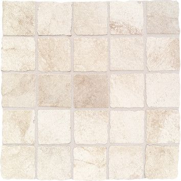 "Daltile Portenza 3"" x 3"" Tumbled Mosaic Field Tile in Bianco Ghiaccio $16.43/sf -- insert / shower floor?"