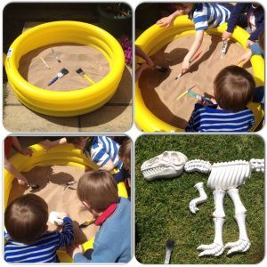 Dinosaur fossil excavation activity in the sand. Great for dinosaur party game.