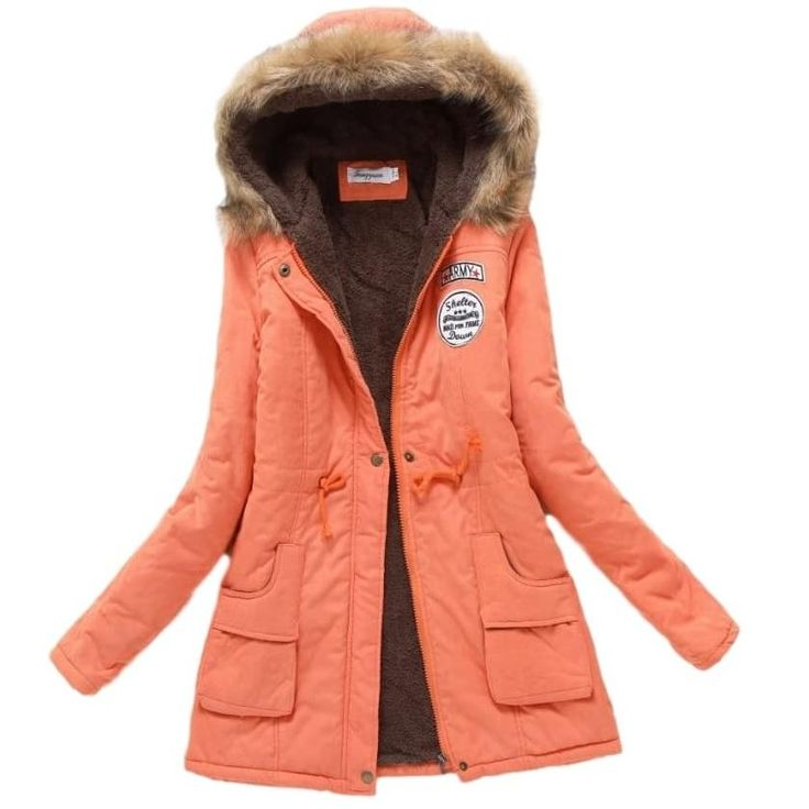 Ladies Parka Coat - Orange