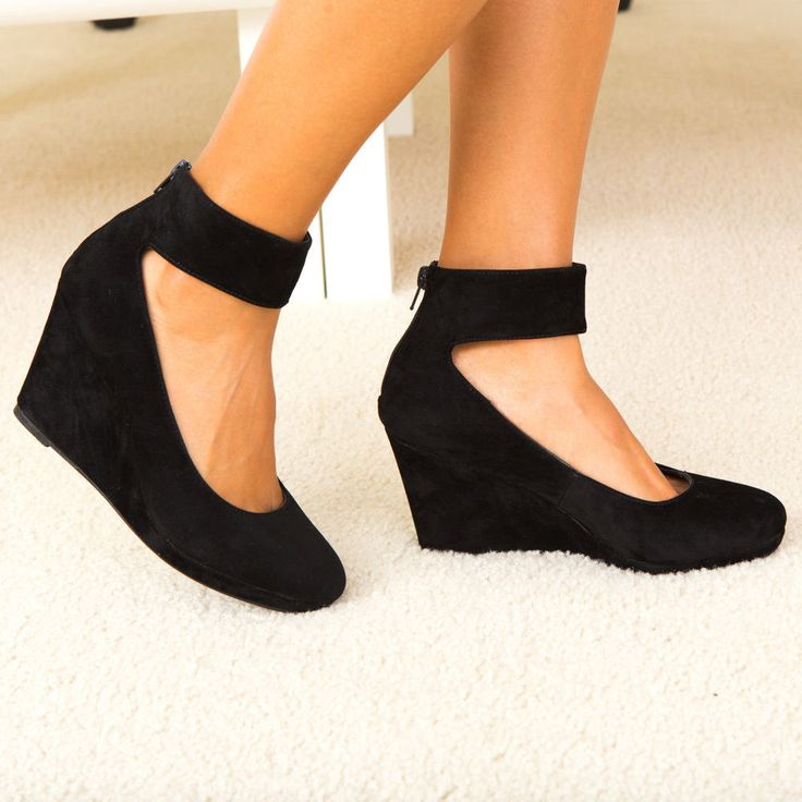 Feminine Flair Velvet Ankle Strap Covered Wedge Heel Pump Black $15.99 via @shopseen