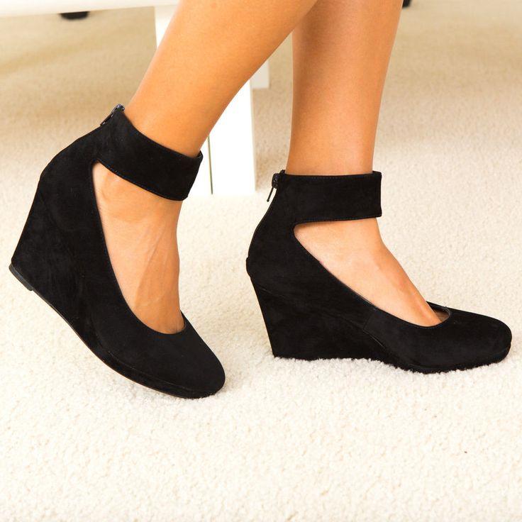 Feminine Flair Velvet Ankle Strap Covered Wedge Heel Pump Black $15.99 via @shopseen