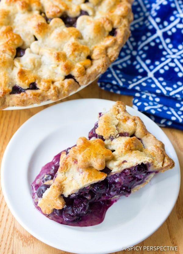 The Best Fresh Blueberry Pie with Almond Pie Crust | ASpicyPerspective ...