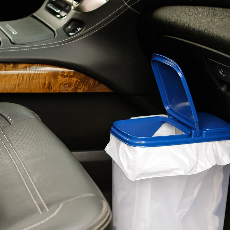 Road Trip Tips -- this DIY car trash can from a cereal dispenser container is a simply brilliant hack! | via @unsophisticook on unsophisticook.com