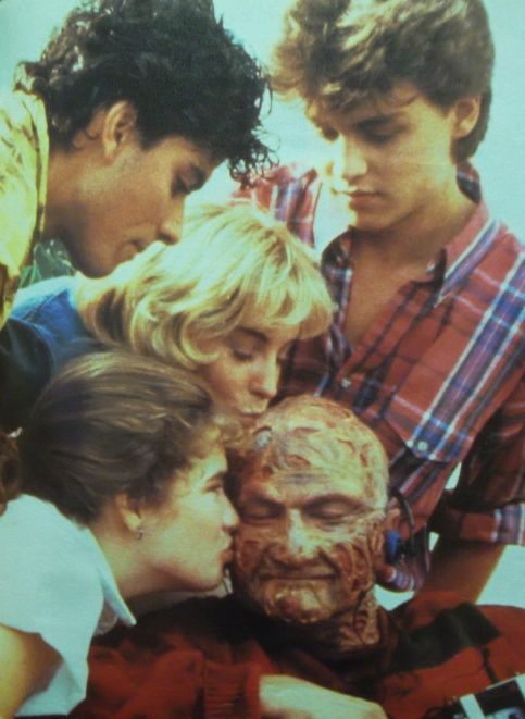 Krueger kisses on the set of A Nightmare on Elm Street, dir. by Wes Craven (1984).- That's so cute!