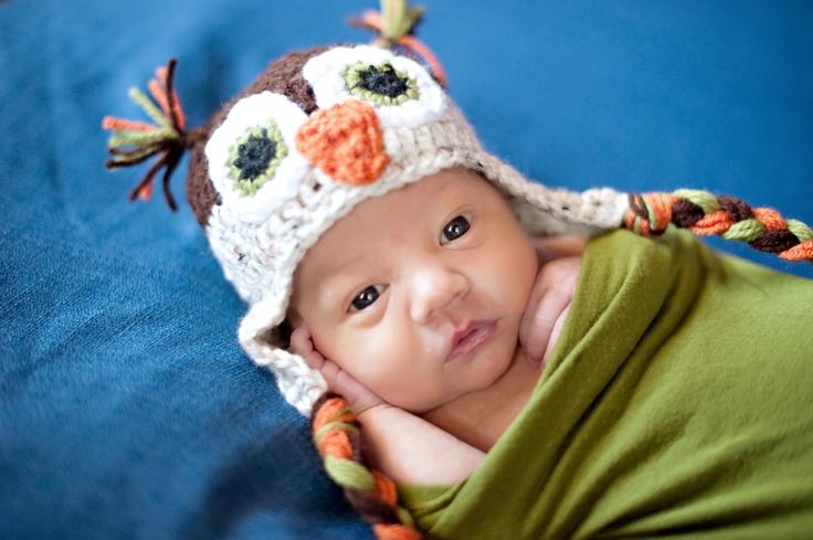 So Cute! Crochet Boy Owl Ear Flap Hat. $25.00, via Etsy.