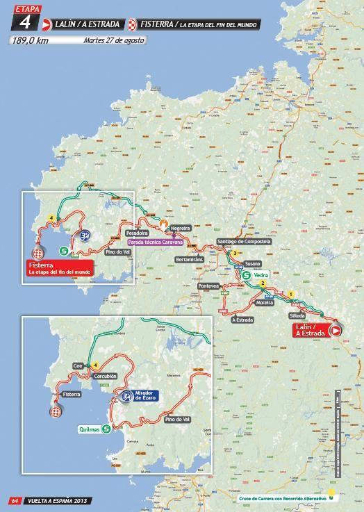 Mapa de ruta da 4ª etapa de La Vuelta a España. De Lalín/ A Estrada a Fisterra, pasando polo Mirador do Ézaro e por #Dumbría