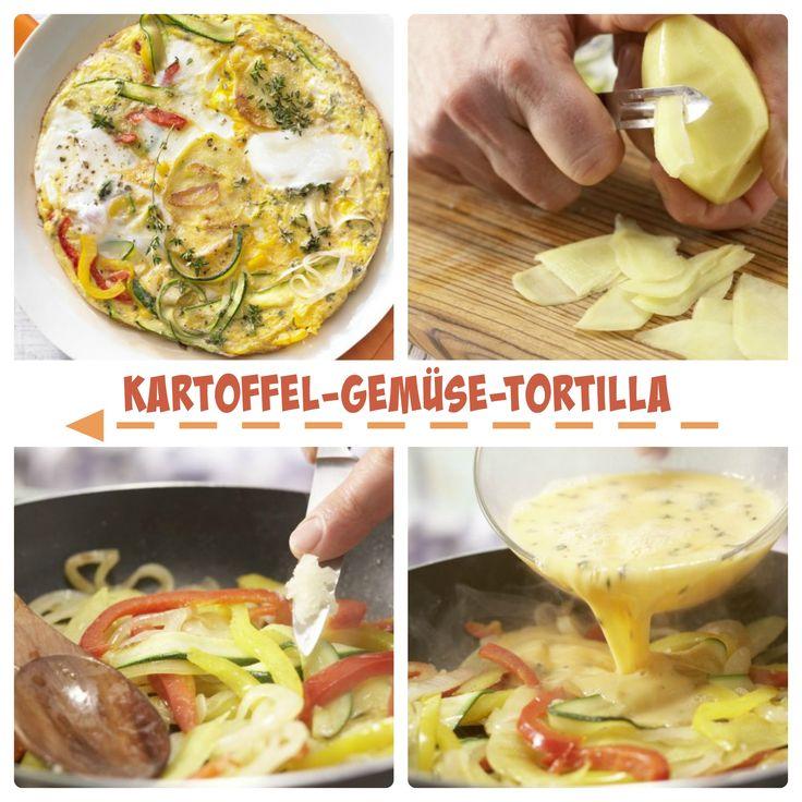 Spaniens Antwort auf das Omelette: Kartoffel-Gemüse-Tortilla mit Paprika und Zucchini   http://eatsmarter.de/rezepte/kartoffel-gemuese-tortilla