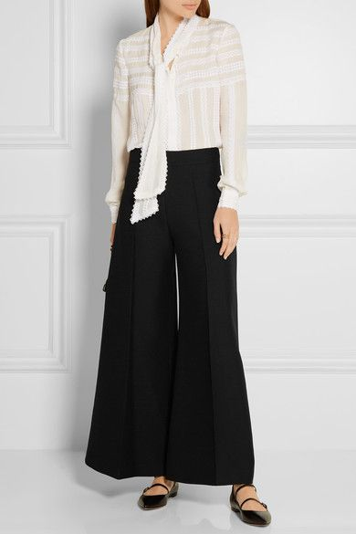 Valentino - Wool-crepe Wide-leg Culottes - Black - IT40