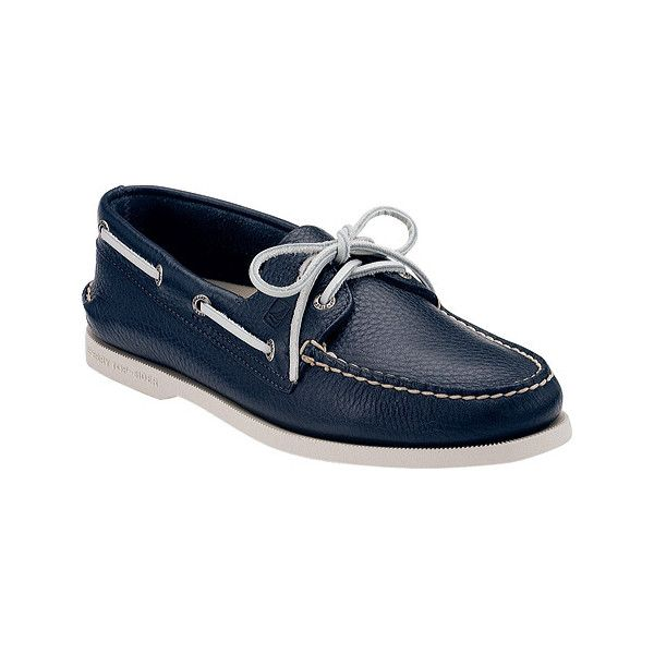 Men's Sperry Top-Sider Authentic Original Boat Shoe (130 CAD) ❤ liked on Polyvore featuring men's fashion, men's shoes, men's loafers, casual, moc toe shoes, navy, mens wide loafers, mens wide shoes, mens sperry topsiders and mens slip on shoes