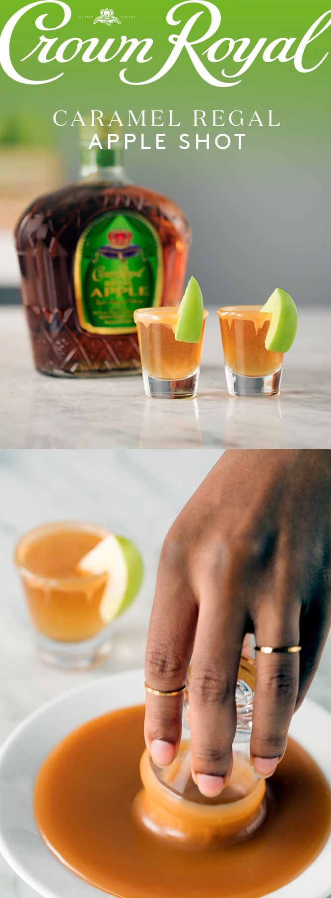 This St. Patrick's Day, break out the green with a shot of Crown Royal Regal Apple. Simply dip your favorite shot glass in a shallow bowl or plate of caramel sauce and add 1.5 oz Crown Royal Regal Apple. Garnish with a crisp apple slice and raise a glass to the patron saint of Ireland, the whisky in your cup, and the great people surrounding you.